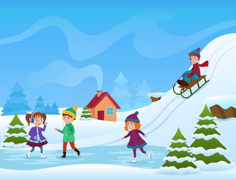 Vektorillustration av den gladlynta skridskoåkningen och att åka släde för ungar i vinter Vinterholifayskort stock illustrationer