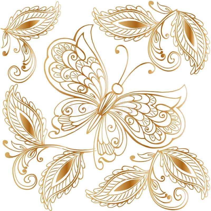 Vektorillustration av den guld- mehndimodellen Dekorativ prydnadbakgrund för tyg, textil, inpackningspapper vektor illustrationer