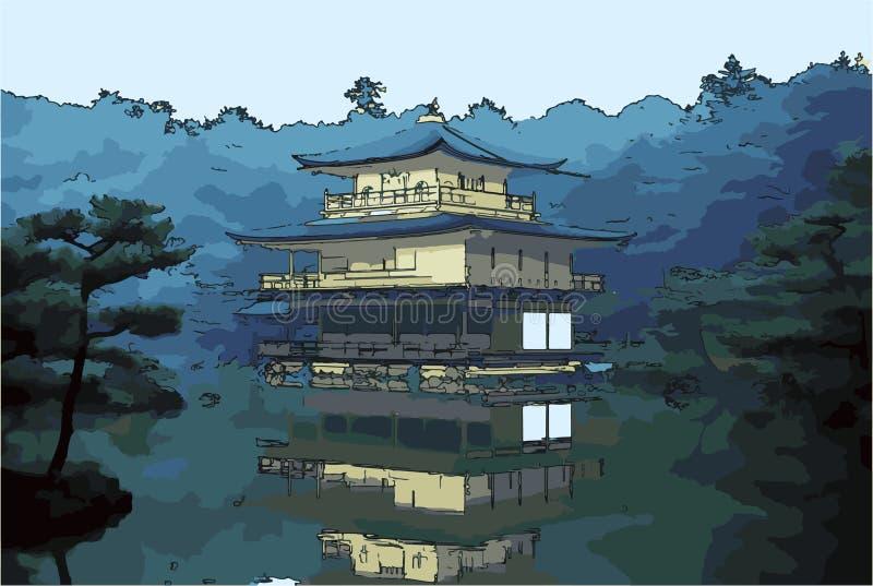Vektorillustration av den guld- paviljongen - Kyoto, Japan vektor illustrationer