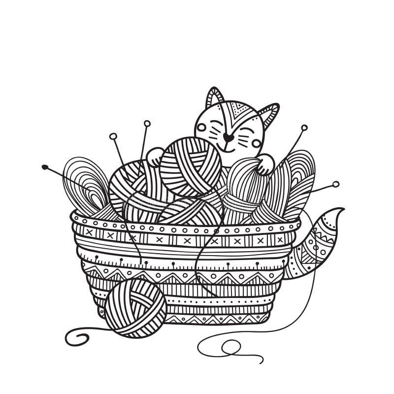 Vektorillustration av den gulliga katten med handarbetekorgen av garnbal stock illustrationer