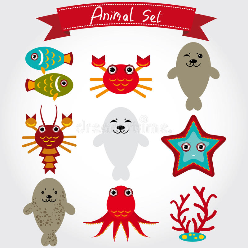Vektorillustration av den gulliga uppsättningen för havsdjur inklusive pälsskyddsremsor, bläckfisk, fisk, korall, krabba, hummer royaltyfri illustrationer