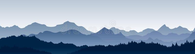 Vektorillustration av den härliga panoramautsikten Berg i dimma med skogen, morgonbergbakgrund, landskap stock illustrationer
