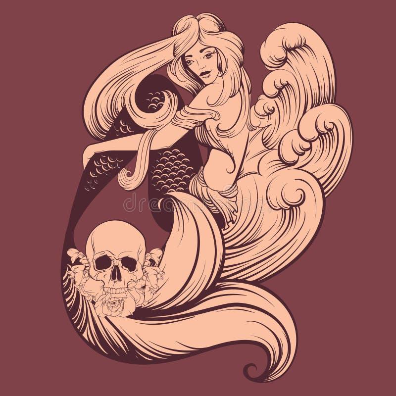Vektorillustration av den härliga sjöjungfrun stock illustrationer
