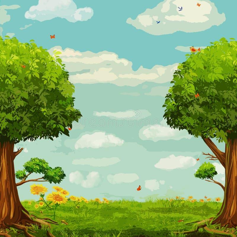 Vektorillustration av den härliga skogsmarkplatsen royaltyfri illustrationer