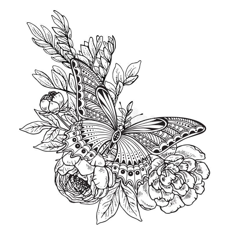 Vektorillustration av den hand drog grafiska fjärilen vektor illustrationer