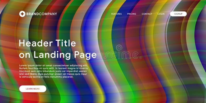 Vektorillustration av den idérika designen med färgrika former för vätska Moderiktiga färglutningar Remsadesign Vätska formar sam royaltyfri illustrationer