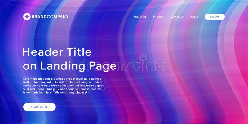 Vektorillustration av den idérika designen med färgrika former för vätska Moderiktiga färglutningar Remsadesign Vätska formar sam stock illustrationer
