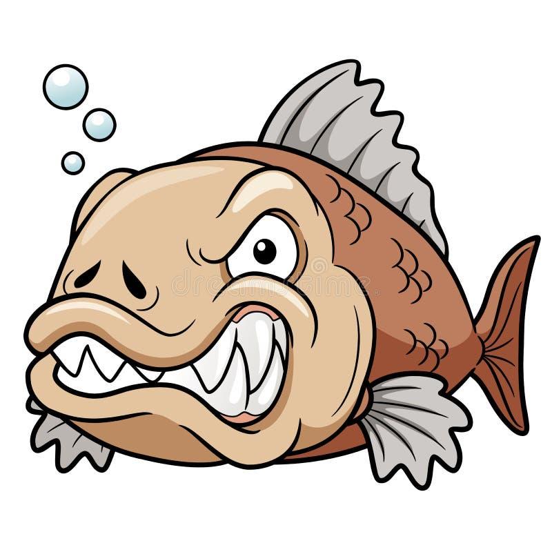 Ilsken fisktecknad film royaltyfri illustrationer