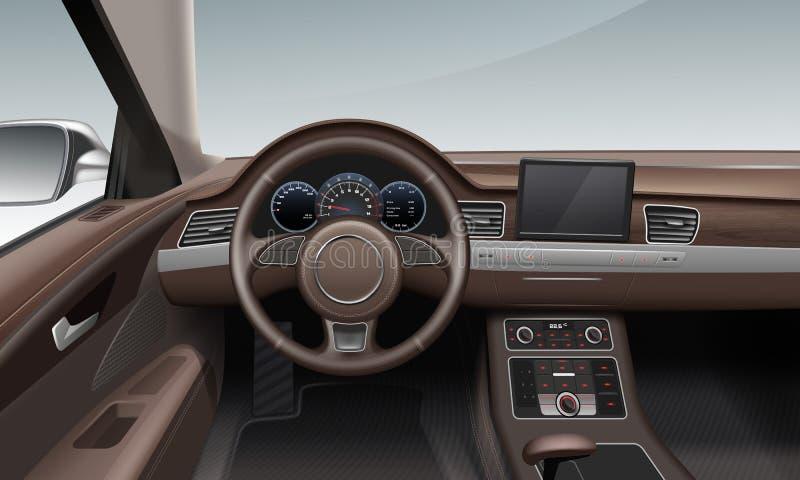 Vektorillustration av den inre inre bilen med instrumentbrädan för läderhjulland i brunt stock illustrationer