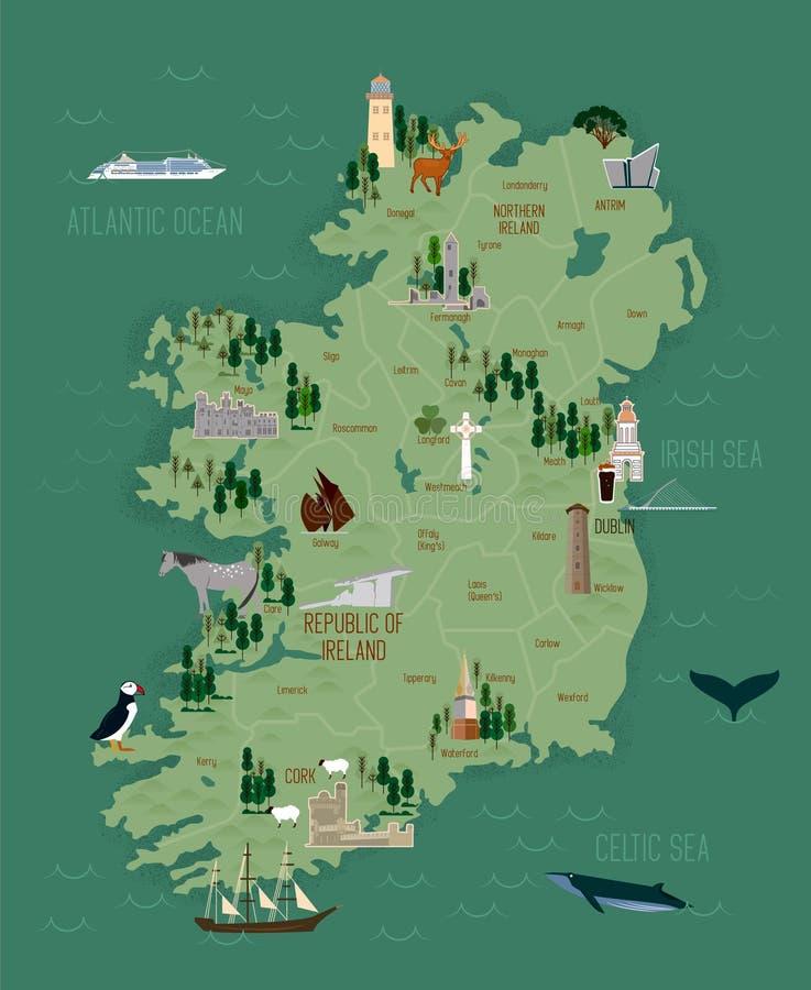 Vektorillustration av den Irland översikten royaltyfri illustrationer