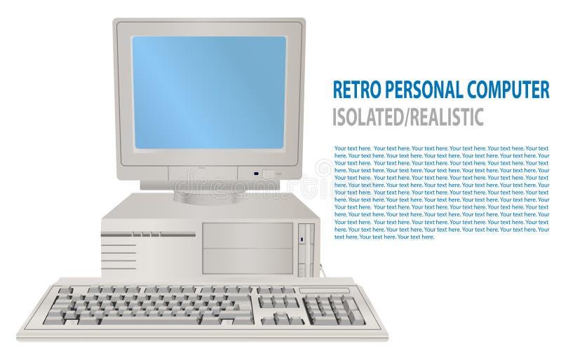 Vektorillustration av den isolerade realistiska retro persondatorn gammal PC 3D med skärm, tangentbord Dator för gammal skola royaltyfri illustrationer