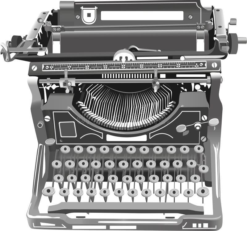 Vektorillustration av den isolerade skrivmaskinen för gammal stil vektor illustrationer