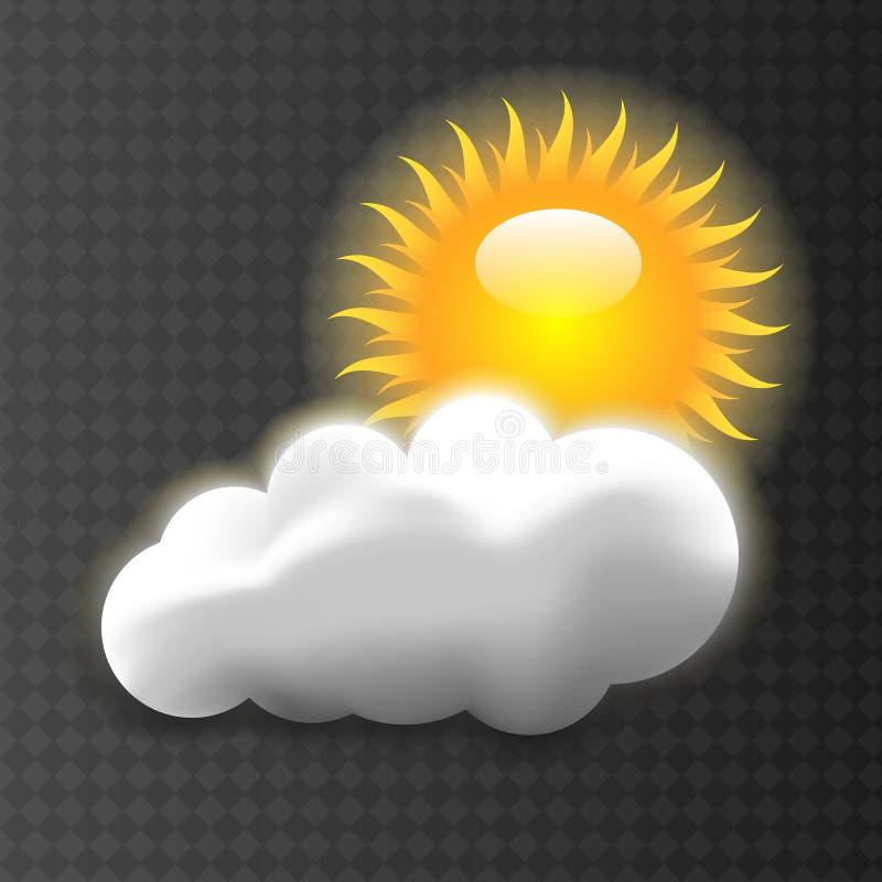 Vektorillustration av den kalla enkla vädersolen med molnflöten i himlen stock illustrationer