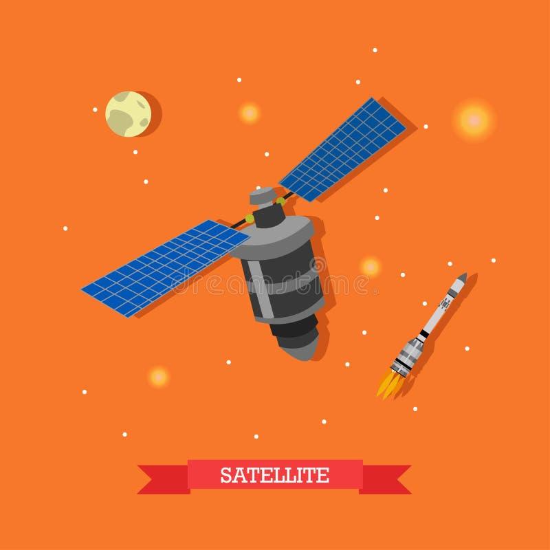 Vektorillustration av den konstgjorda satelliten, den lanserade raket och planetjord stock illustrationer