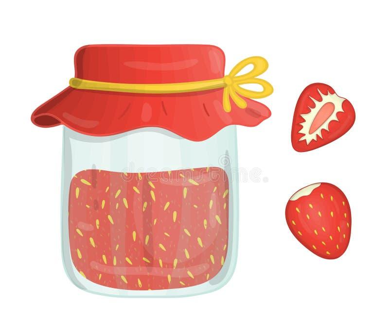 Vektorillustration av den kul?ra kruset med jordgubbedriftstopp royaltyfri illustrationer