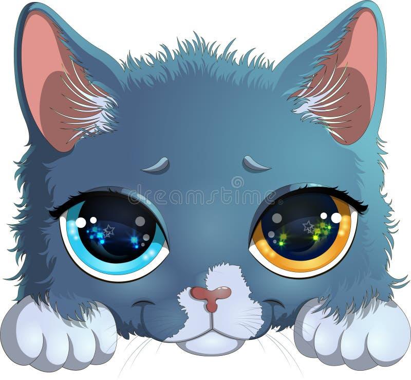 Vektorillustration av den lilla gråa kattungen med att älska ögon och härligt leende som isoleras på vit bakgrund vektor illustrationer