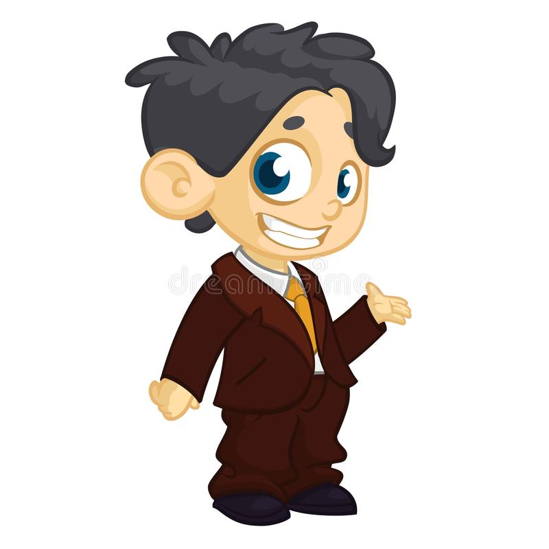 Vektorillustration av den lilla pojken i kläder för man` s Tecknade filmen av en ung pojkeuppklädd i a mans att framlägga för aff vektor illustrationer