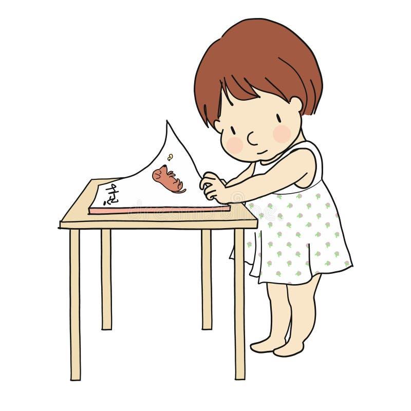Vektorillustration av den lilla ungen som ser en bok book höga illustrationbanor för clippingen som läser upplösning stock illustrationer