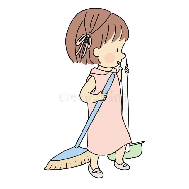 Vektorillustration av den lilla ungen som sopar med kvasten och sopskyffel Utvecklingsaktivitet för tidig barndom - barnhjälpförä vektor illustrationer