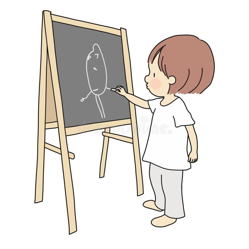 Vektorillustration av den lilla ungen som sopar med kvasten och sopskyffel Utvecklingsaktivitet för tidig barndom vektor illustrationer