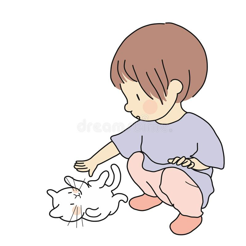Vektorillustration av den lilla ungen som spelar med den älskvärda kattungen Rörande liten katt för nyfiken unge Lyckliga barn da stock illustrationer