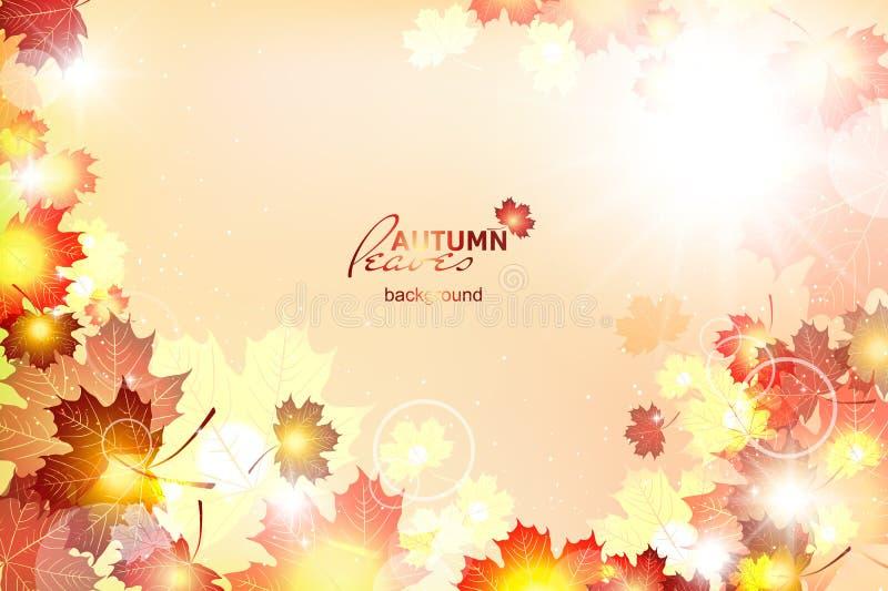 Vektorillustration av den ljusa soliga hösten vektor illustrationer