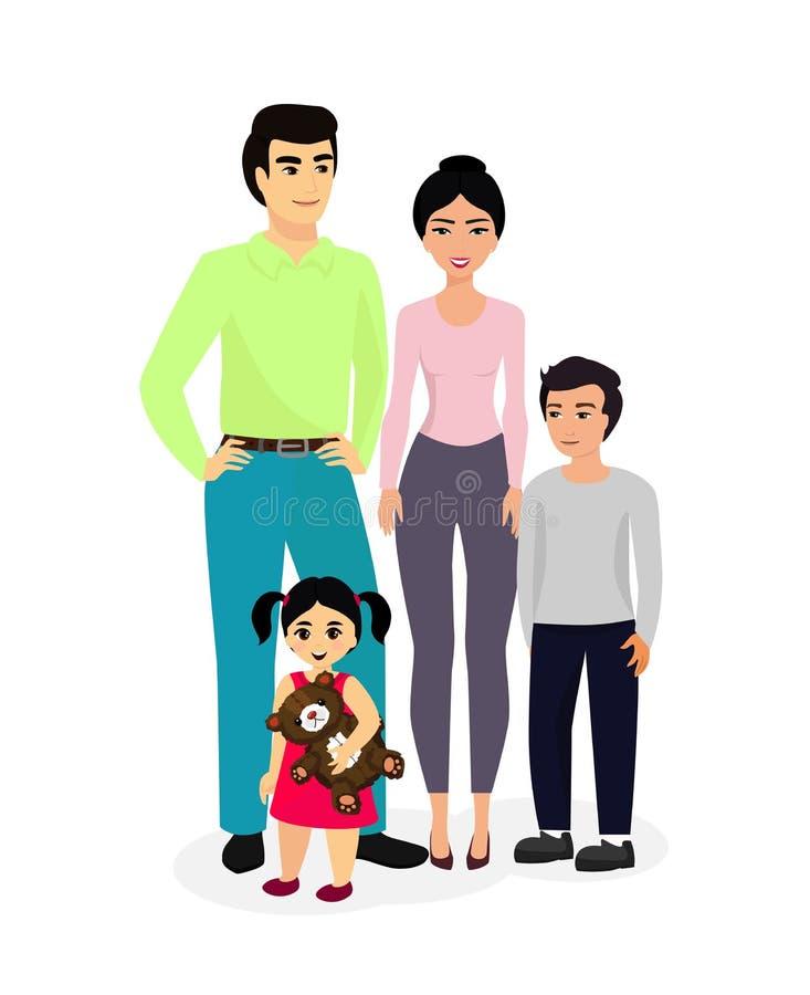 Vektorillustration av den lycklig och för smiley asiatiska familjen med barn och föräldrar Plan tecknad filmstilmoder, fader vektor illustrationer