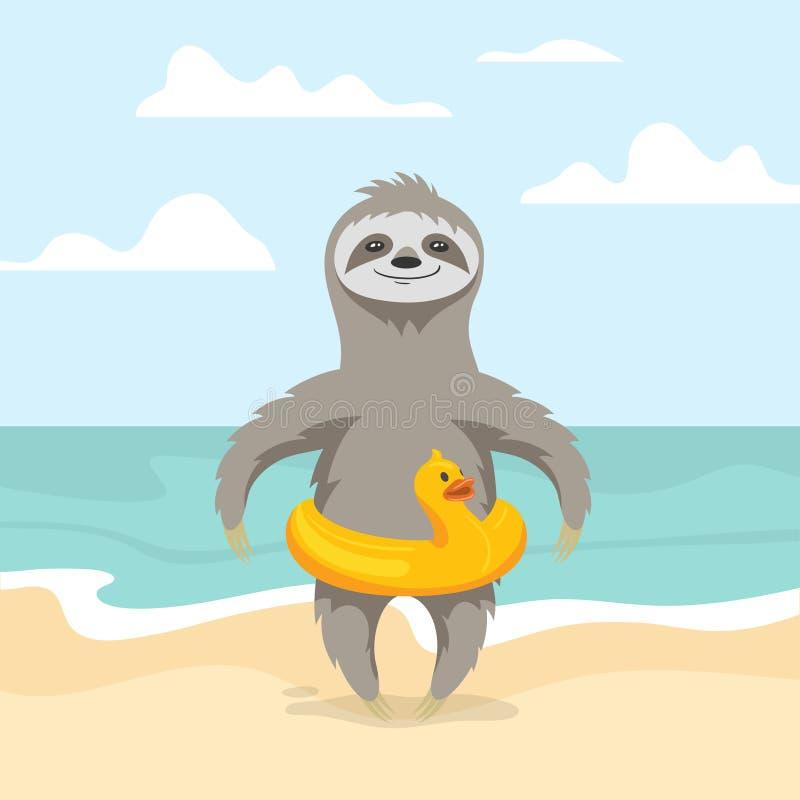 Vektorillustration av den lyckliga gulliga sengångaren på stranden vektor illustrationer