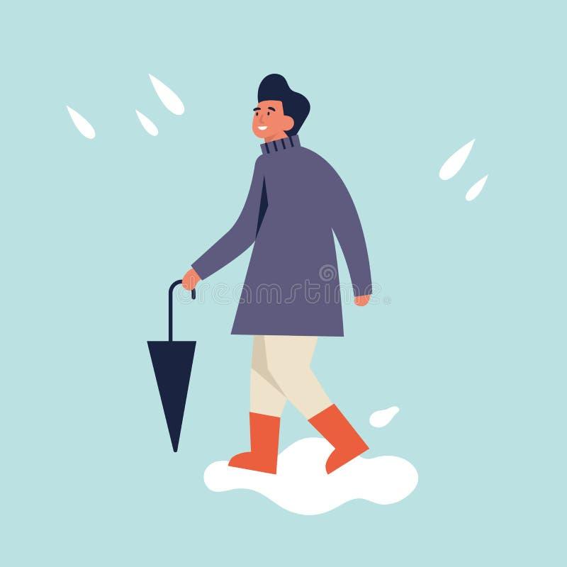 Vektorillustration av den lyckliga mannen i höstsäsongkläder Ung man som går och rymmer paraplyet regnigt v?der vektor illustrationer
