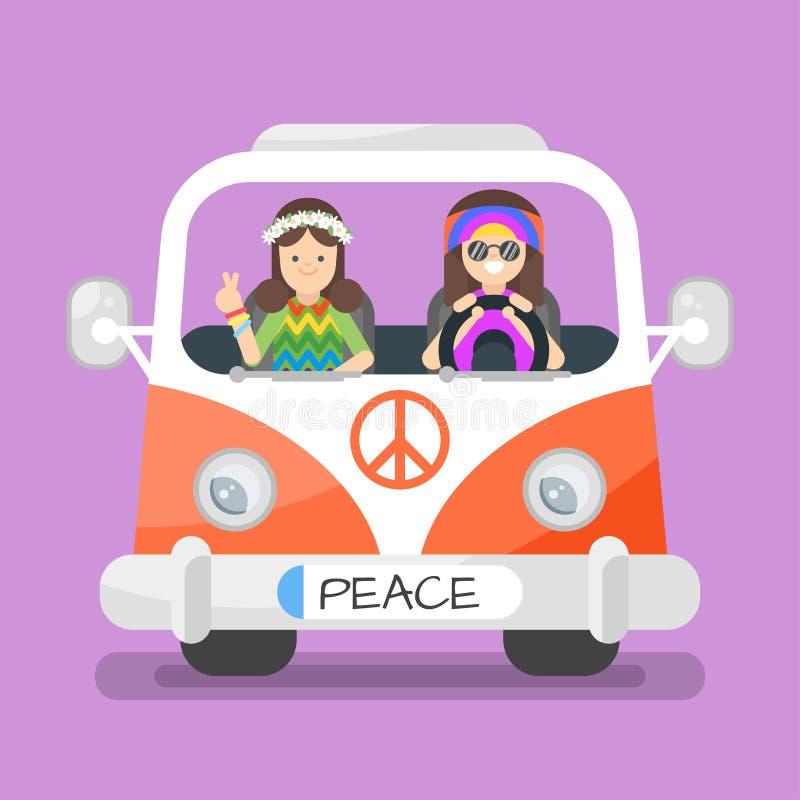 Vektorillustration av den lyckliga mannen och kvinnan för hippie två stock illustrationer