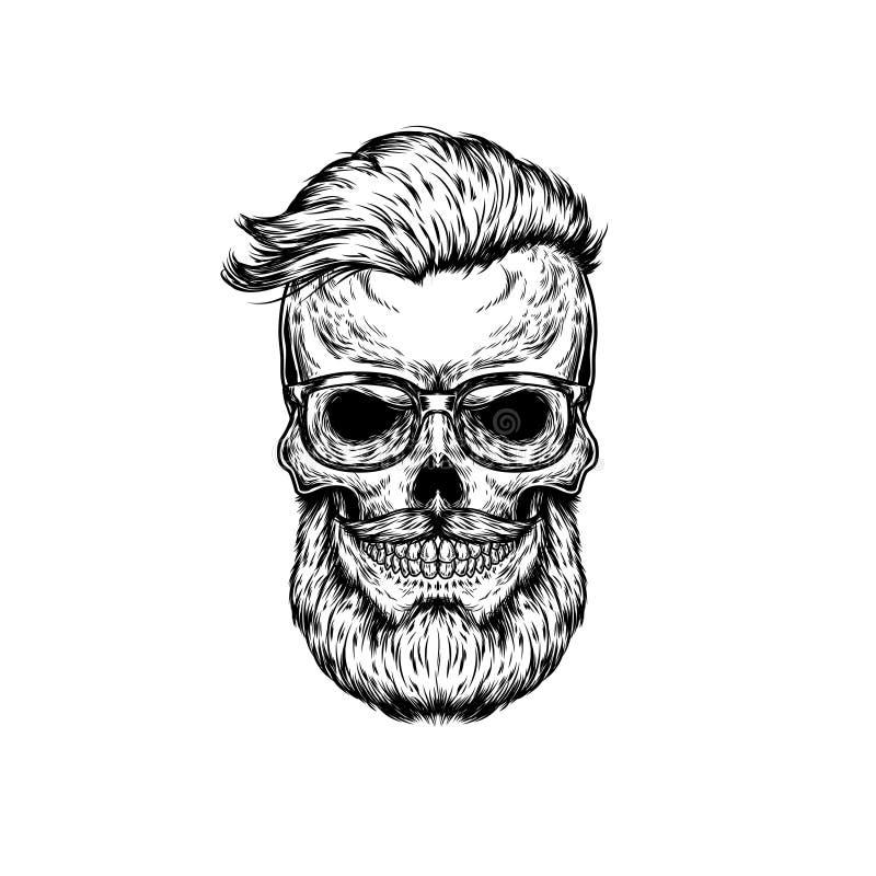 Vektorillustration av den mänskliga skallen i solglasögon royaltyfri illustrationer