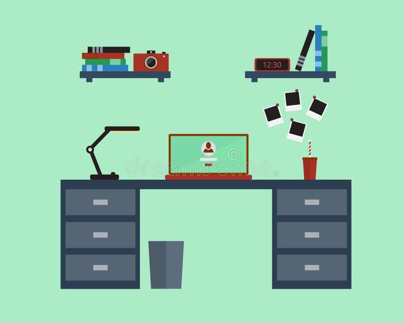 Vektorillustration av den moderna arbetsplatsen i plan design royaltyfri illustrationer