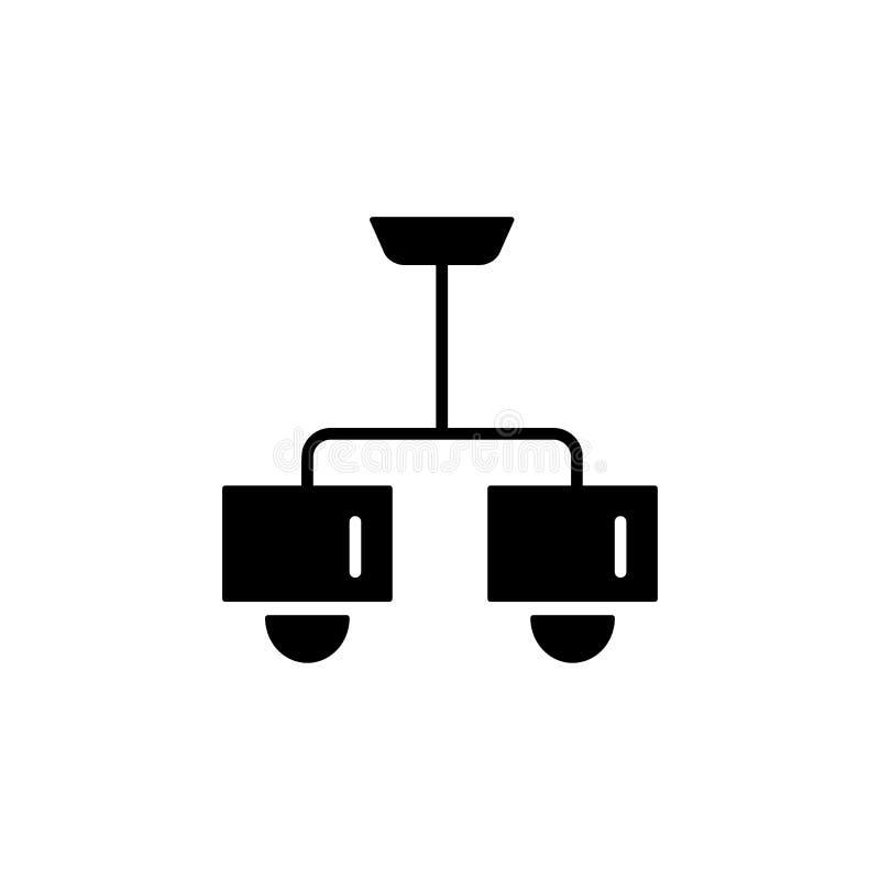 Vektorillustration av den moderna taklampan Plan symbol av ljuskronan för 2 ljus med fyrkantiga skuggor Hem- & kontorsbelysning i vektor illustrationer