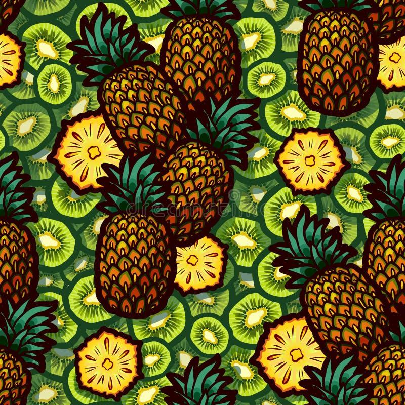 Vektorillustration av den nya sömlösa modellen för kiwi och för ananas för din design royaltyfri fotografi