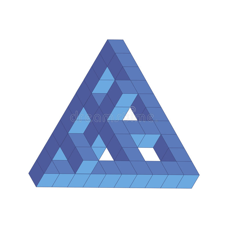 Vektorillustration av den Penrose triangeln, blåttkub vektor illustrationer