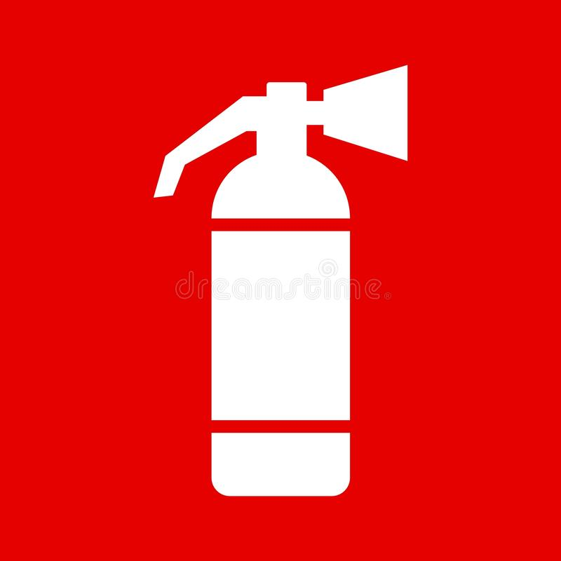 Vektorillustration av den röda teckensymbolen för brandsläckare royaltyfri illustrationer
