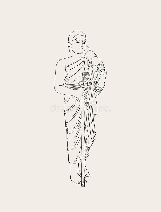 Vektorillustration av den rakade buddistiska munken royaltyfri illustrationer