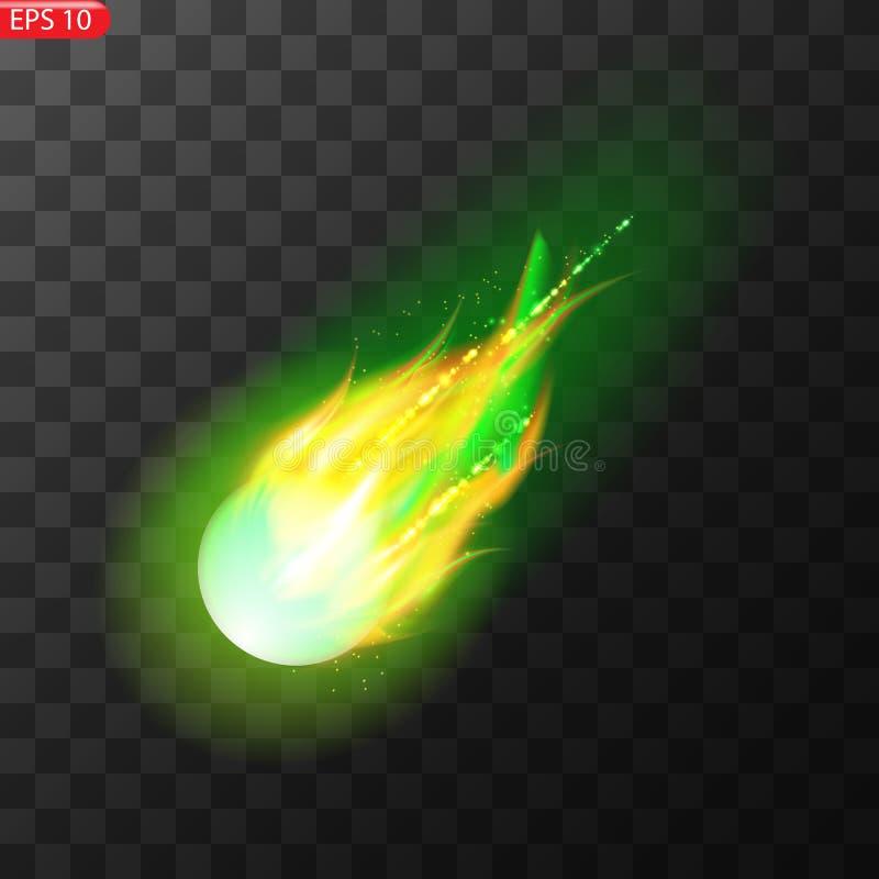 Vektorillustration av den realistiska fallande komet Isolerad genomskinlig bakgrund Skyttestj?rna, meteor royaltyfri illustrationer