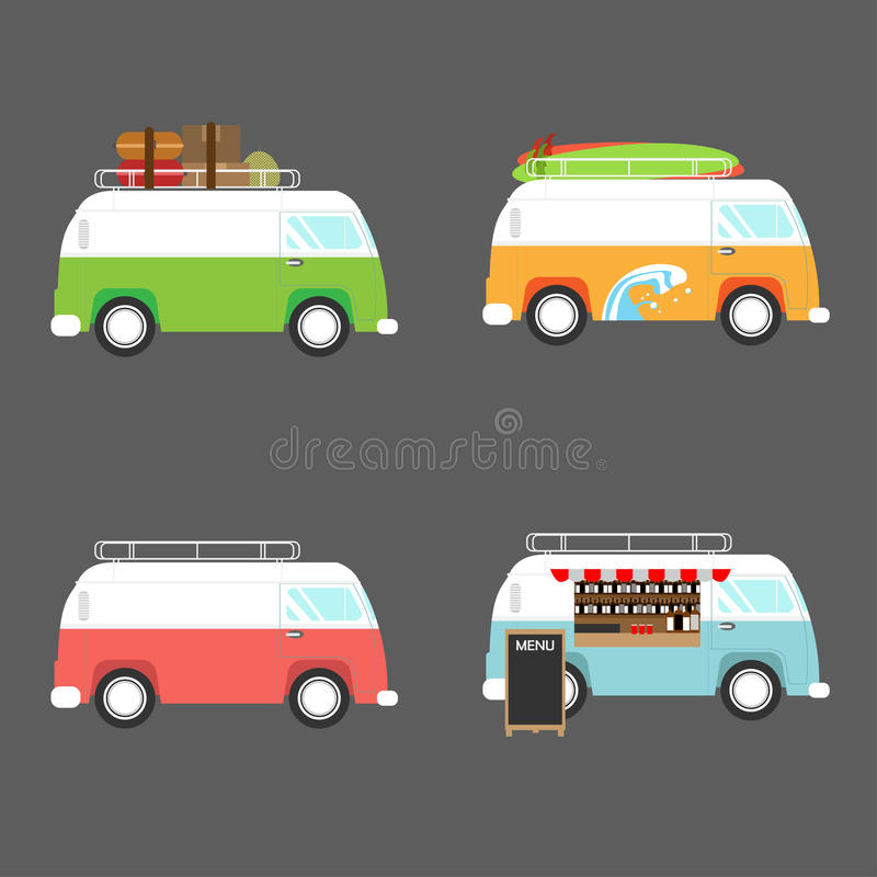 Vektorillustration av den retro skåpbilen stock illustrationer