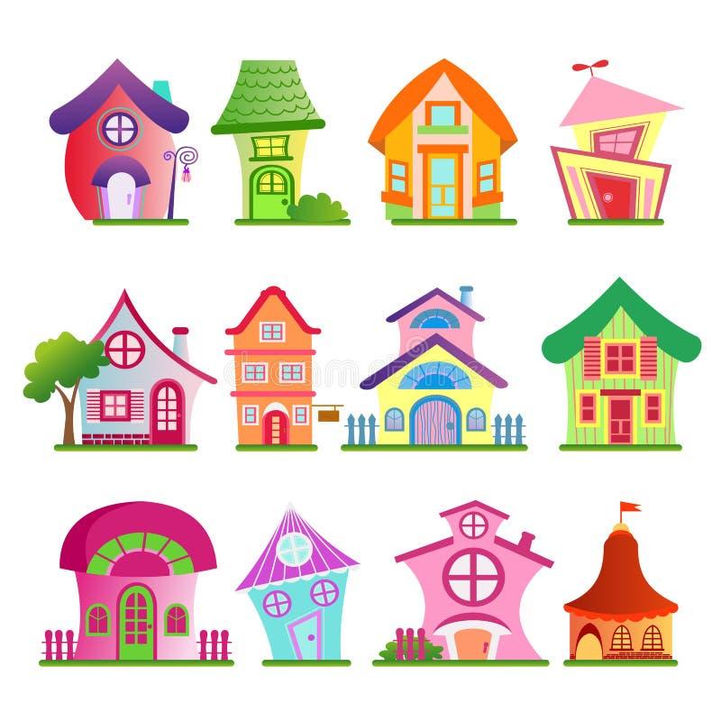 Vektorillustration av den roliga landsbyggnadsuppsättningen Färgrika och ljusa hus med träd i komisk stil för tecknad filmlägenhe stock illustrationer