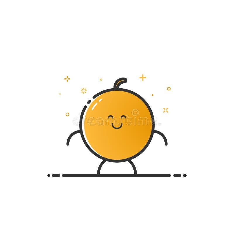 Vektorillustration av den roliga orange teckentecknade filmen som isoleras i linjen stil vektor illustrationer