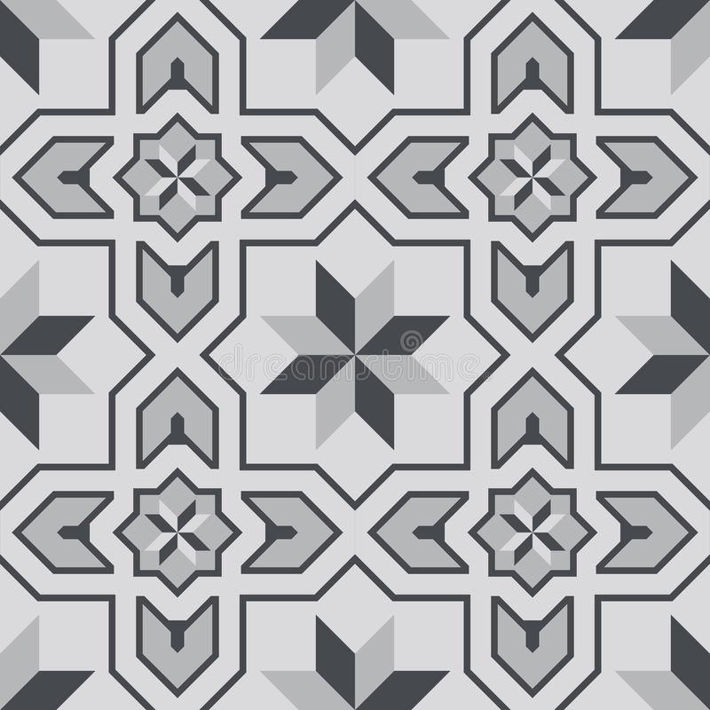 Vektorillustration av den sömlösa modellen för marockanska tegelplattor stock illustrationer