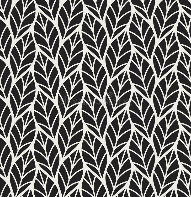 Vektorillustration av den sömlösa modellen för sidor Blom- organisk bakgrund Hand dragen bladtextur stock illustrationer