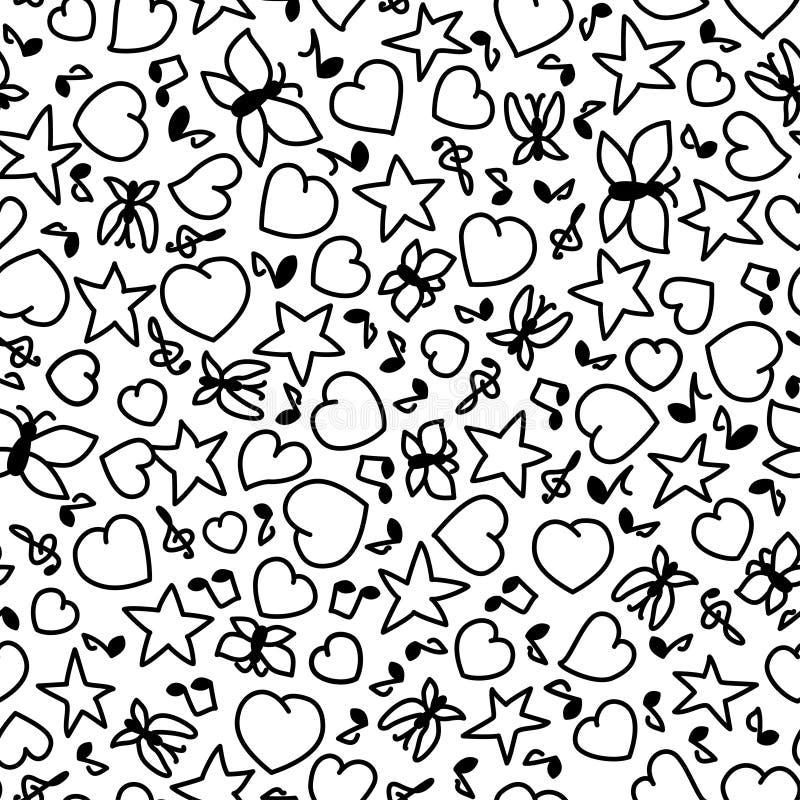 Vektorillustration av den sömlösa modellen för tecknad film av hjärtor, anmärkningar, stjärnor och fjärilar Färga sidaboken för v vektor illustrationer