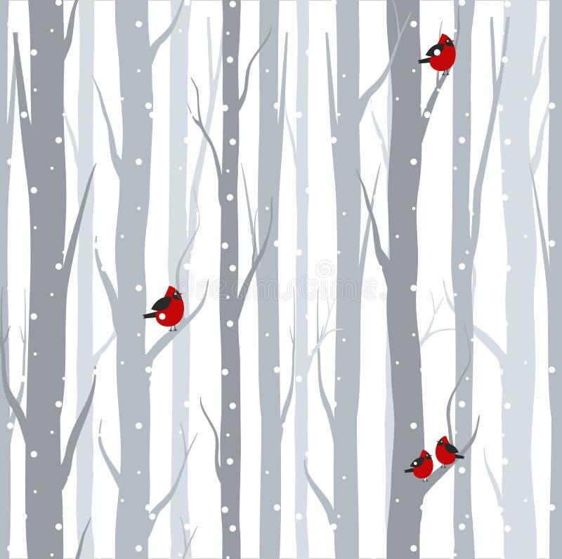 Vektorillustration av den sömlösa modellen med gråa trädbjörkar och röda fåglar i vintertid med den insnöade plana tecknade filme royaltyfri illustrationer