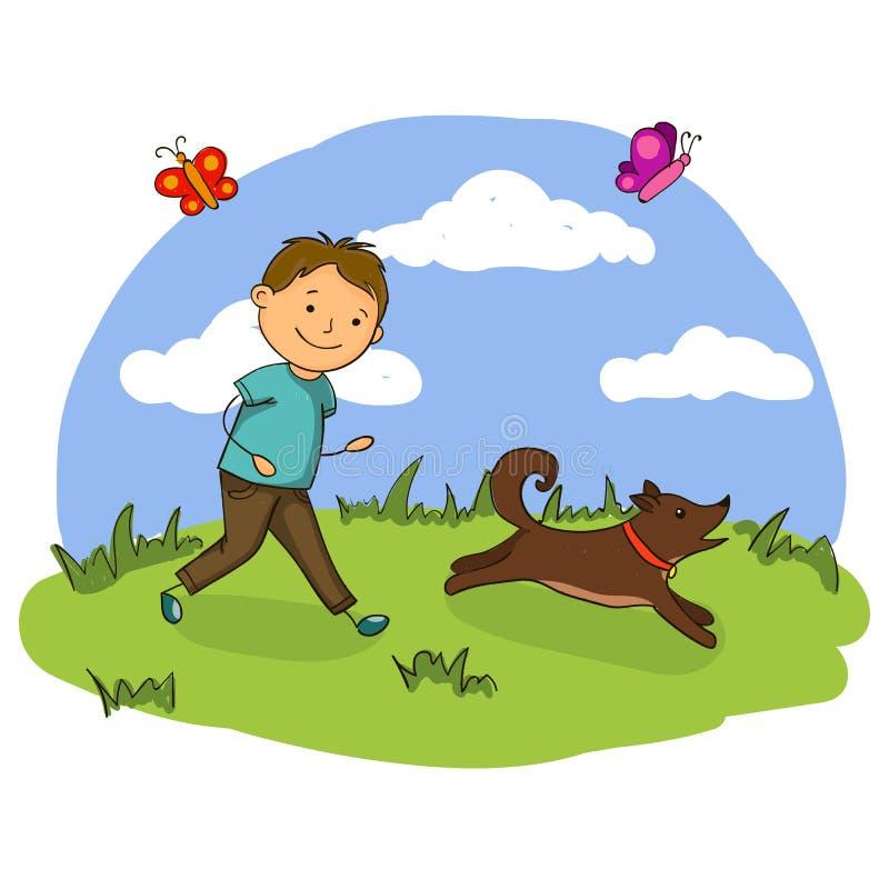 Vektorillustration av den stiliga pysen som spelar med hans hund i parkera stock illustrationer