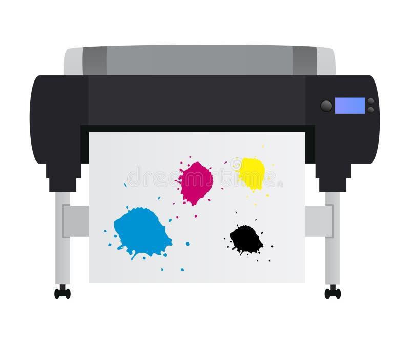 Vektorillustration av den stora bläckstråleplottarskrivaren för utskrift av många produkter royaltyfri illustrationer