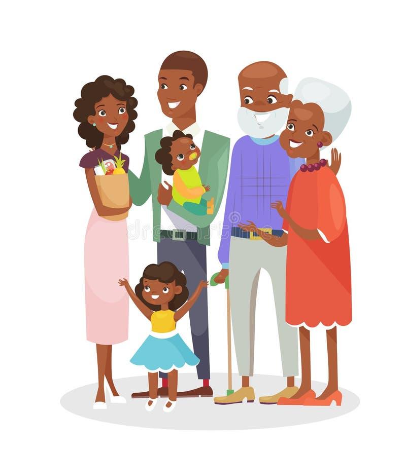 Vektorillustration av den stora lyckliga familjståenden Afrikansk amerikanmorföräldrar, föräldrar och barn som isoleras tillsamma royaltyfri illustrationer