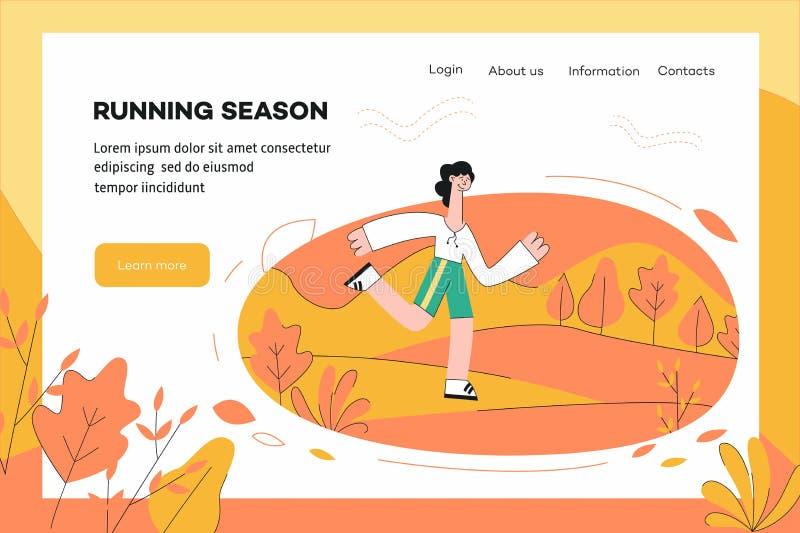 Vektorillustration av den sunda och sportiga mallen för livsstilbegreppswebsite royaltyfri illustrationer