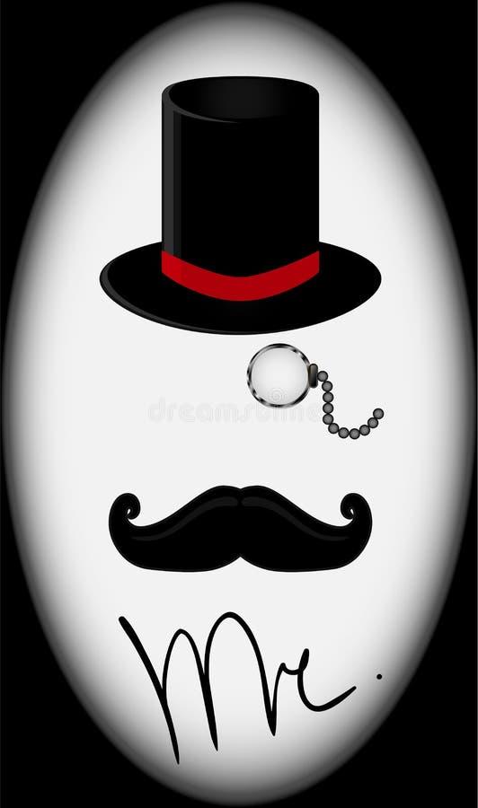 Vektorillustration av den svarta den derbyhatten, mustaschen och monokeln vektor illustrationer